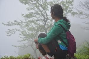 Enjoying the foggy view