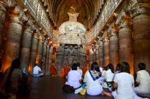 Buddhist monks praying.